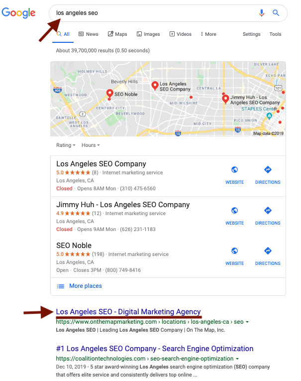 los angeles seo local review for small businesses