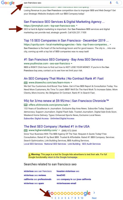 San Francisco SEO ranking